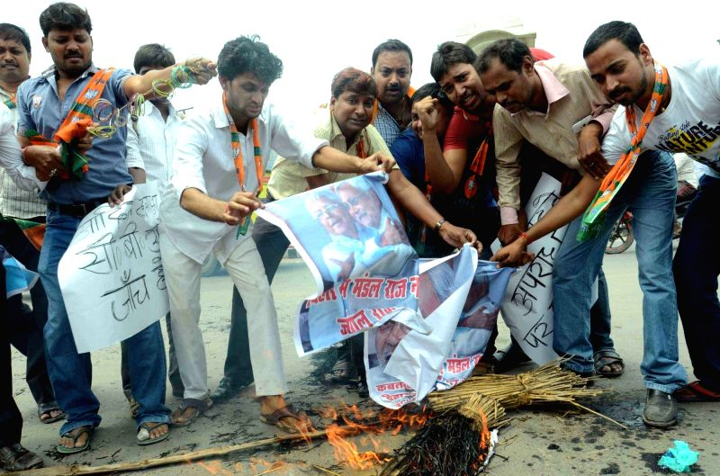 BJP worker stage a demonstration against the rising crime in Bihar,  in Patna, on May 13, 2016.