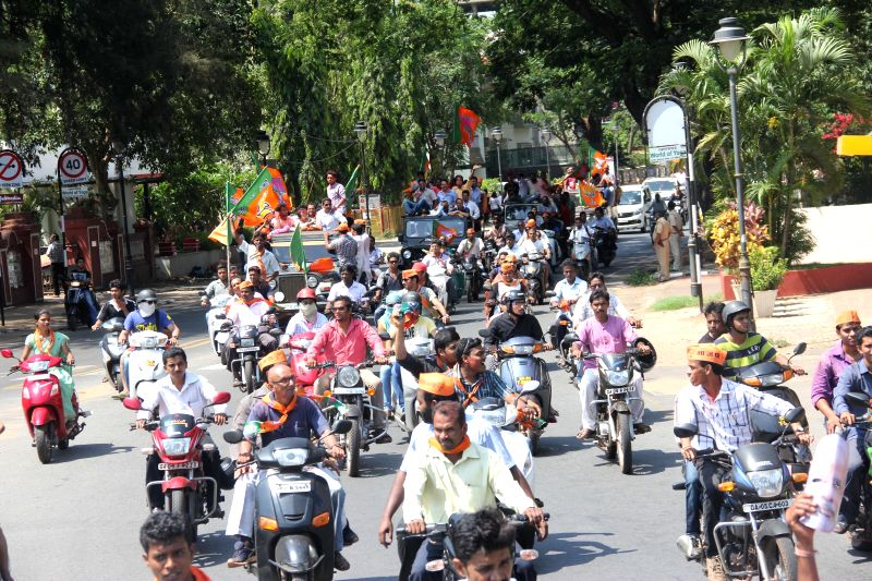 BJP workers celebrate party's performance in 2014 Lok Sabha Elections in Panaji on May 16, 2014.