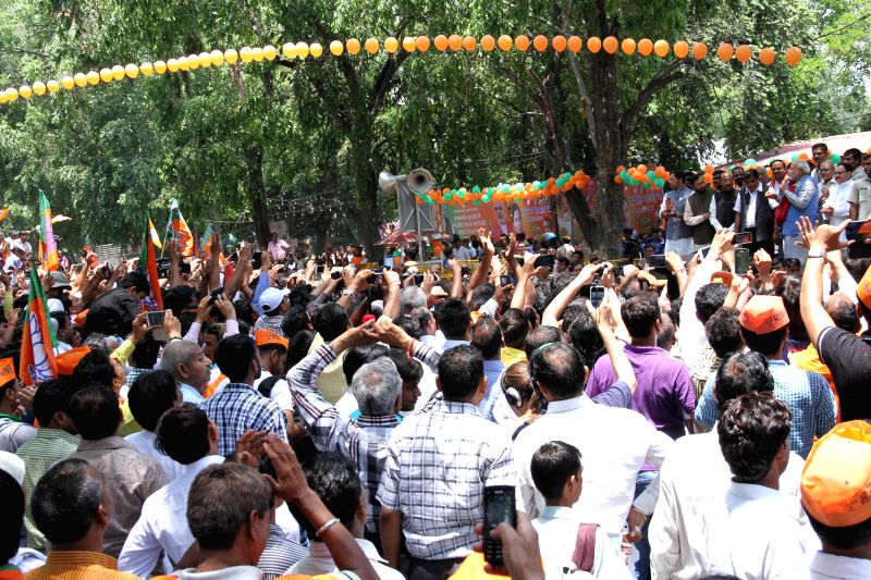 BJP workers gather at party headquarters in New Delhi on May 17, 2014.