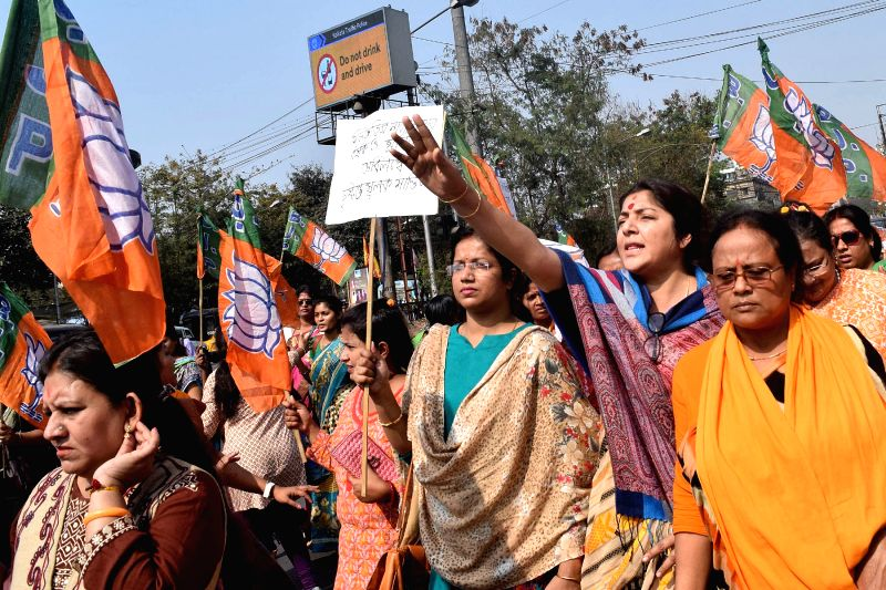 BJP workers led by party's Mahila Morcha President Locket Chatterjee stage a demonstration against West Bengal Government over the alleged rape and murder of 9-year-old girl in Siliguri; in ... - Chatterjee