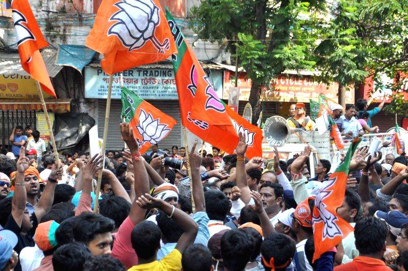 BJP workers protest against the law and order situation in West Bengal and fake cases lodged against their party workers among other issues in Lalbazar of Kolkata on May 25, 2017.