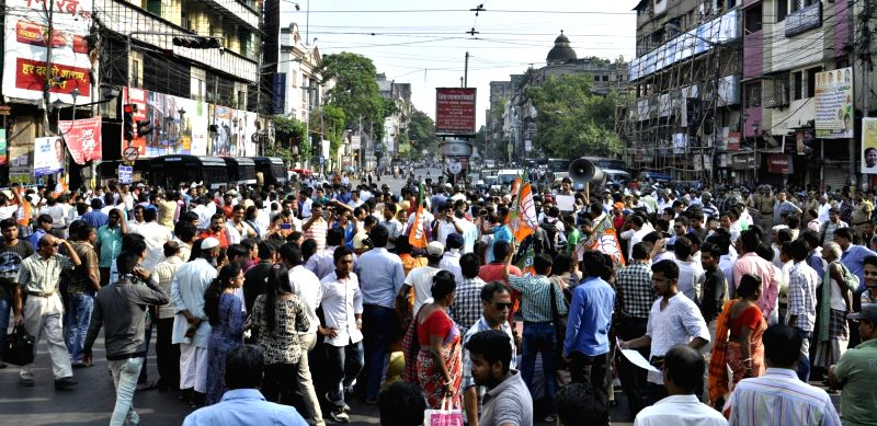BJP workers stage a demonstration to protest against Sahi Imam of Tipu Sultan Masque  Moulana Nur Rahaman Barkati in Kolkata, on May 12, 2017.