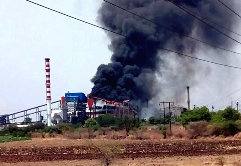 Black smoke billows out after a fire broke out in a sugar factory in Maharashtra's Solapur on May 11, 2017.