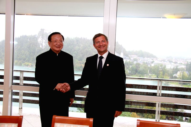 Slovenian Deputy Prime Minister and Minister of Foreign Affairs Karl Erjavec (R) shakes hands with former Chinese State Councilor Tang Jiaxuan in the Slovenian resort ..