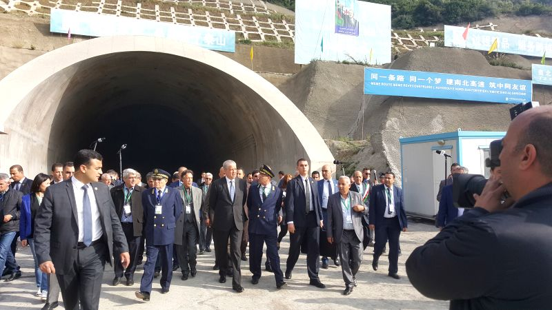 BLIDA, April 30, 2017 - Algerian Prime Minister Abdelmalek Sellal (Center with black suit) visits a section of a highway in Blida, Algeria on April 29, 2017. Abdelmalek Sellal on Saturday visited a ... - Abdelmalek Sellal