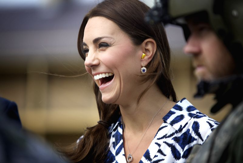 British Prince William's wife Kate, Duchess of Cambridge, meet with Australian helicopter crew members participating in rescue missions at the Blue ...