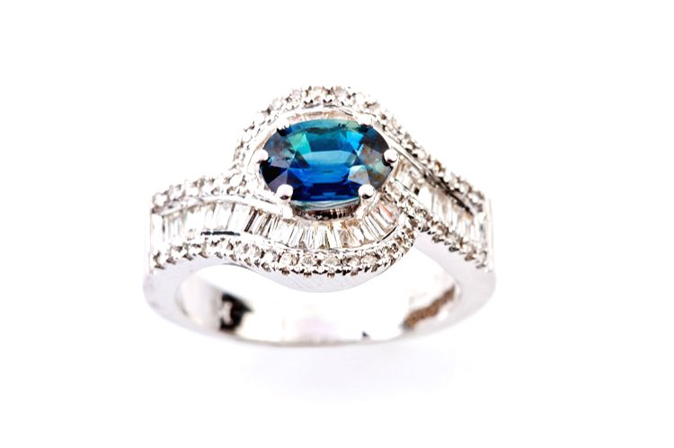 Blue Stone Diamond Ring_ INR 95000 by Jewelsify.com