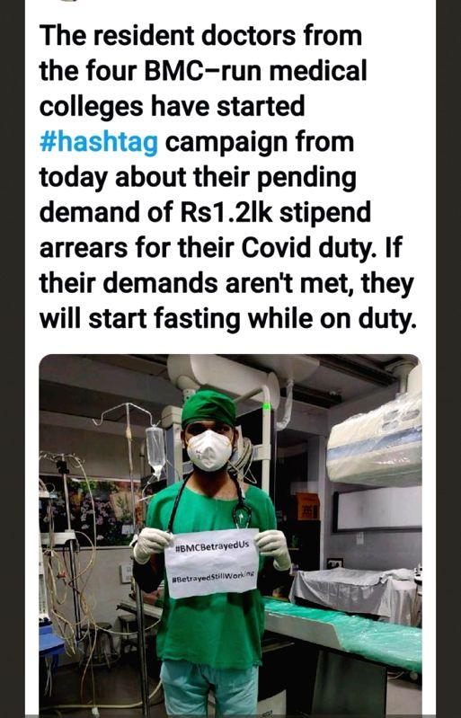 BMC doctors protest 'on-duty' seeking arrears of stipend