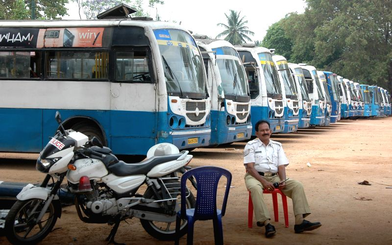 BMTC Busses deployed on 2014 Lok Sabha Election Duty at a bus depot in Bangalore on April 16, 2014.