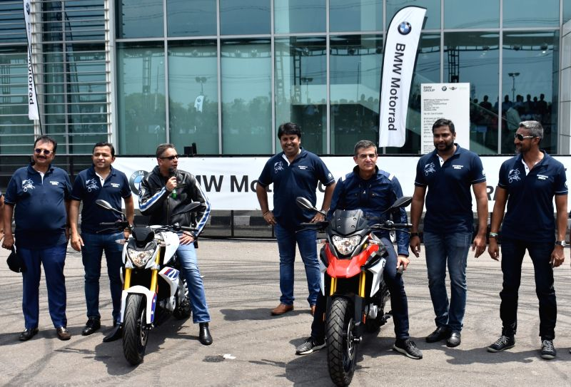BMW Group India President Vikram Pawah (L) and BMW Motorrad Head of Region Asia, China, Pacific, South Africa, Dimitris Raptis at the launch of G310R and G310GS in Gurugram on July 18, 2018.