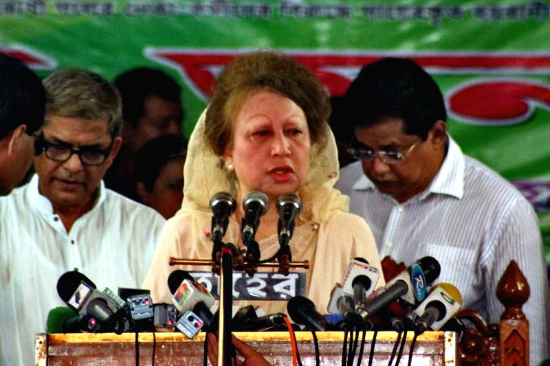 BNP Chairperson Khaleda Zia addresses a press conference in Dhaka of Bangladesh on May 4, 2014.