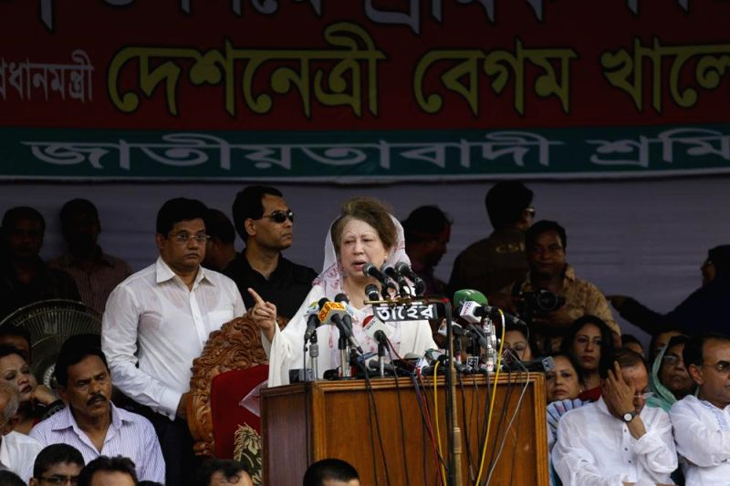 BNP Chairperson Khaleda Zia addresses a rally organised by Jatiyatabadi Sramik Dal on International Workers' Day in Dhaka of Bangladesh on May 1, 2014.
