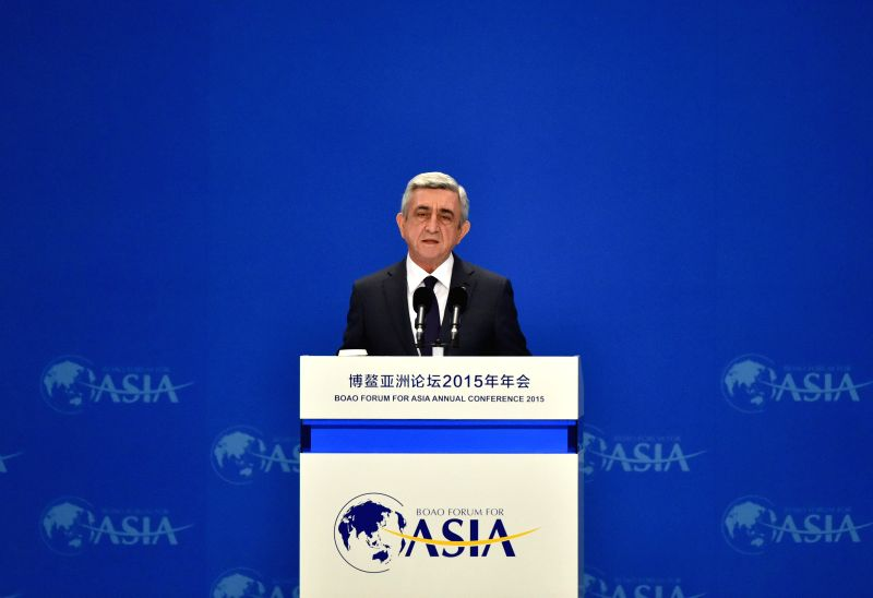 Armenian President Serzh Sargsyan speaks during the opening ceremony of the 2015 annual conference of the Boao Forum for Asia (BFA) in Boao, south China's Hainan ...