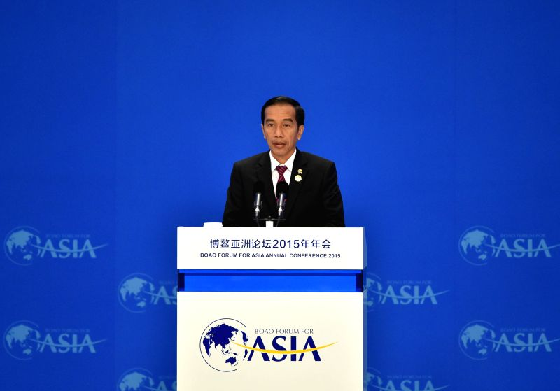 Indonesian President Joko Widodo speaks during the opening ceremony of the 2015 annual conference of the Boao Forum for Asia (BFA) in Boao, south China's Hainan ...