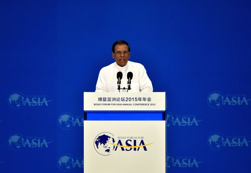 Sri Lanka President Maithripala Sirisena speaks during the opening ceremony of the 2015 annual conference of the Boao Forum for Asia (BFA) in Boao, south China's ...