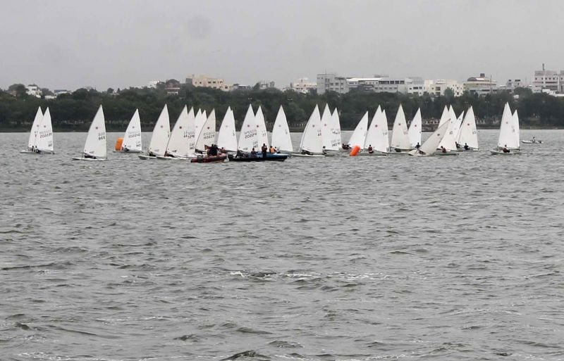 Boats during National Laser Championships in Hussain Sagar of Hyderabad on July 16, 2014.