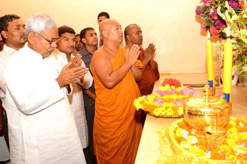 Bodh Gaya: Bihar Chief Minister Nitish Kumar during Buddha Purnima celebrations in Bodh Gaya, Bihar on May 4, 2015.