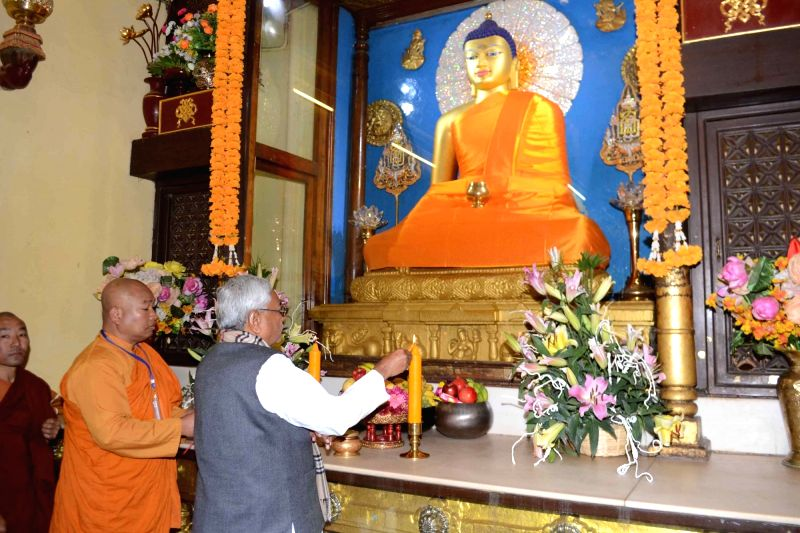 Bodh Gaya: Bihar Chief Minister Nitish Kumar offer prayers at Mahabodhi Temple in Bodh Gaya, Bihar on Feb 1, 2018. - Nitish Kumar