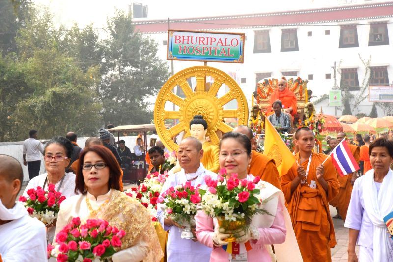 Bodh Gaya: Buddhists participate in the 11th International Tipitaka Chanting Ceremony at Mahabodhi Temple in Bodh Gaya on Dec 1, 2015.