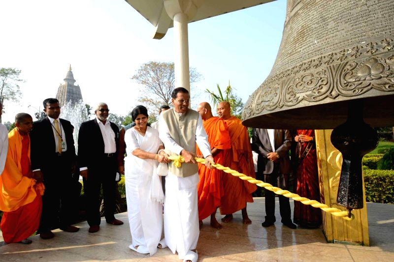 Bodh Gaya: Sri Lankan President Maithripala Sirisena and First Lady Jayanthi Sirisena during their visit to Bodh Gaya, Bihar on Feb 17, 2015.