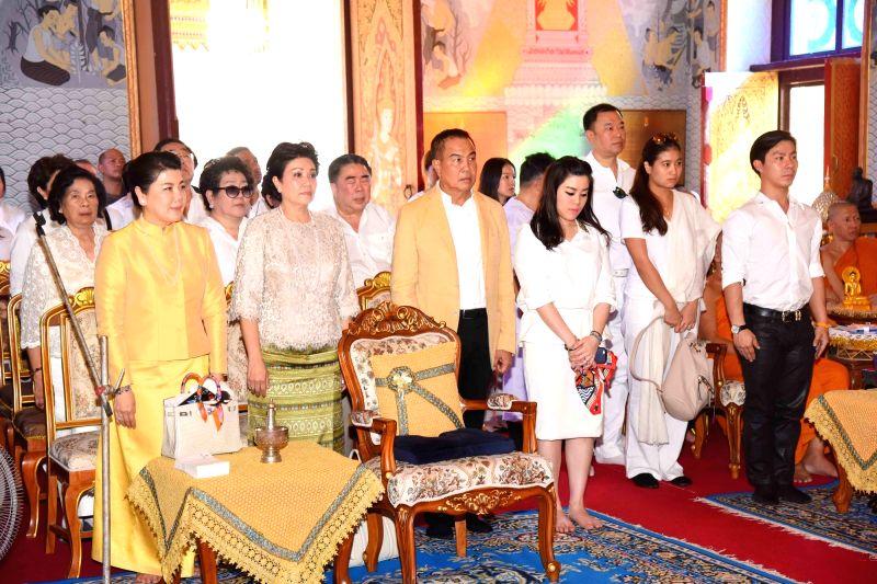 Bodh Gaya: Thai billionaire businessman Vichai Srivaddhanaprabha during a robe offering ceremony of Royal Thai Monastery at Bodh Gaya of Bihar on Nov 13, 2015.