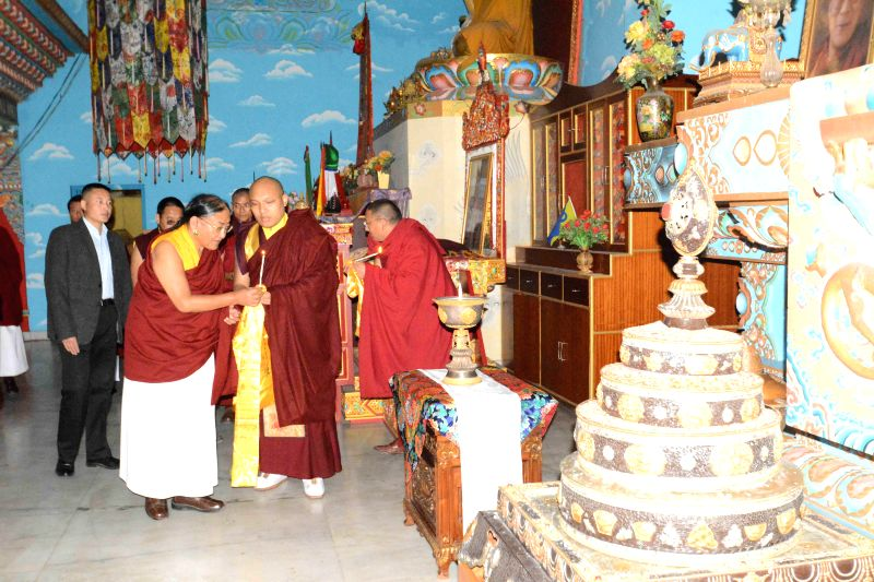 Bodh Gaya: The 17th Gyalwang Karmapa Ogyen Trinley Dorje offers prayers for World Peace at Bodh Gaya, on Dec 18, 2014.