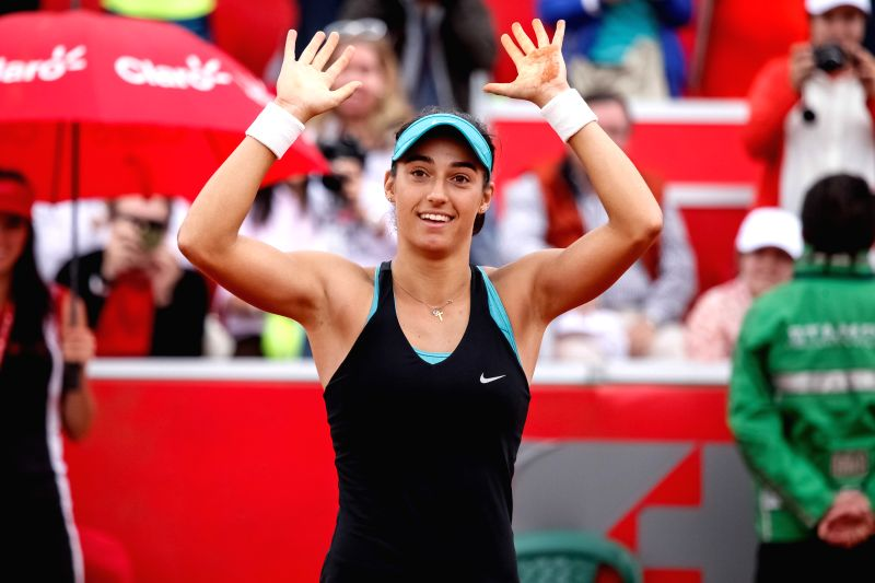 Caroline Garcia of France reacts winning the final match of the Colsanitas Tenis Cup of the Women's Tennis Association (WTA) against Serbia's Jelena Jankovic, in ...