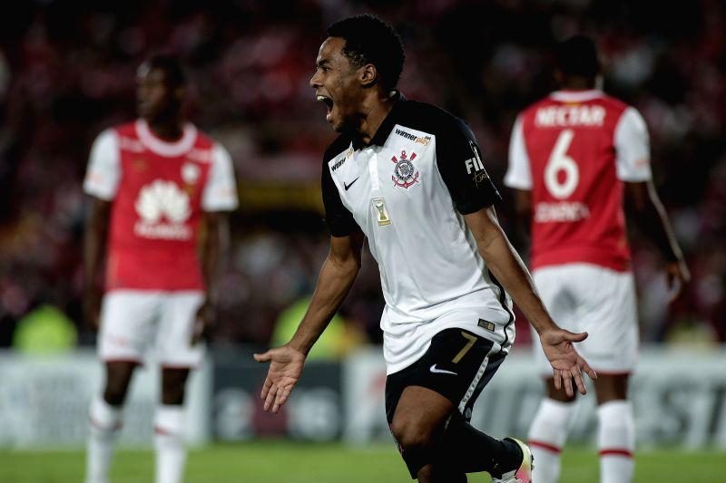 BOGOTA, April 7, 2016 - Elias Mendes of Brazil's Corinthians celebrates after scoring during the Group 8 match of the Libertadores Cup, against Colombia's Independiente Santa Fe, held at Nemesio ...