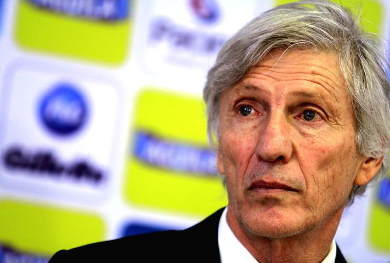 Jose Nestor Pekerman, head coach of Colombia's National Soccer Team, participates in a press conference, in de Sports Headquarters of Colombia's National Soccer ...
