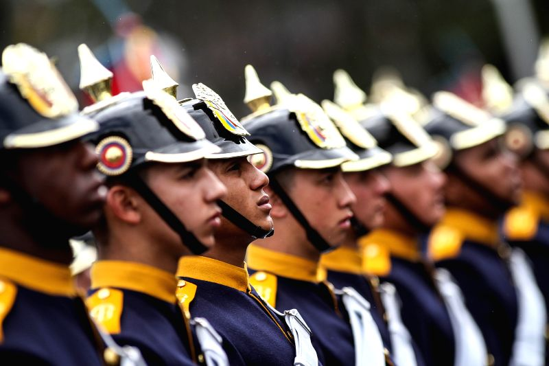 Cadets of the Military Forces take part in the annual military parade for the celebration of Independence Day, in Bogota city, capital of Colombia, on July 20, 2014.