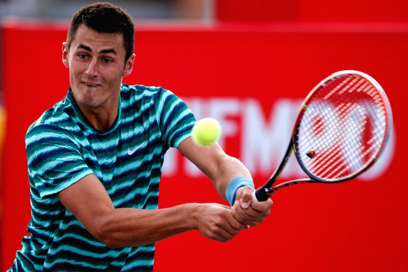 Bernard Tomic of Australia returns the ball during the final against Ivo Karlovic of Croatia at the Claro Open Colombia in Bogota, Colombia on July 20, 2014. Bernard