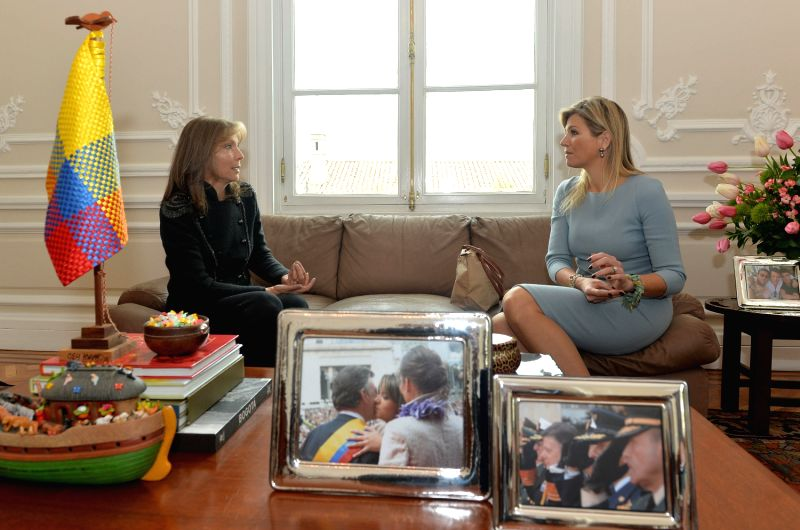 Image provided by Colombia's Presidency shows Colombian First Lady Maria Clemencia Rodriguez (L) talking with Queen Maxima, of the Netherlands, in the Casa de ..