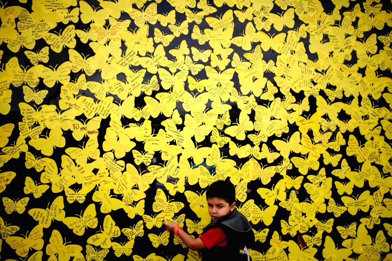 A boy pastes a yellow paper butterfly on a butterfly wall to pay tribute to the late Colombian writer Gabriel Garcia Marquez, during 27th Bogota International Book ...