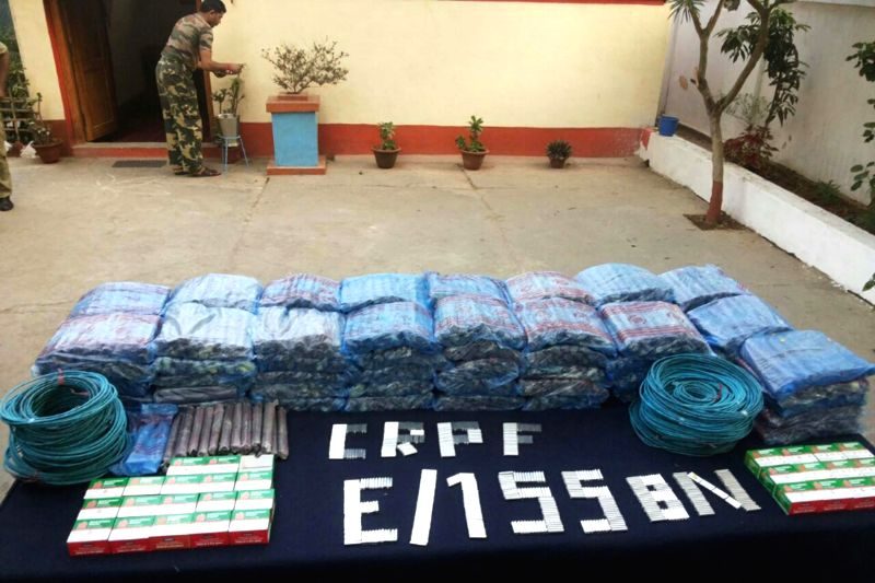 Explosives recovered by CRPF from a passenger bus at Bokajan in Karbi Anglong of Assam on Dec 5, 2014.