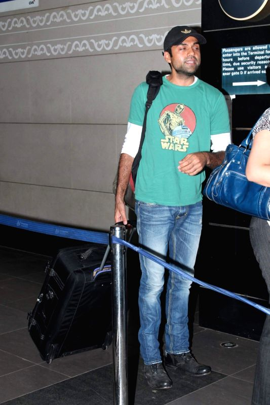 Bollywood actor Abhay Deol leave for 13th IIFA awards to Singapore at International Airport. - Abhay Deol