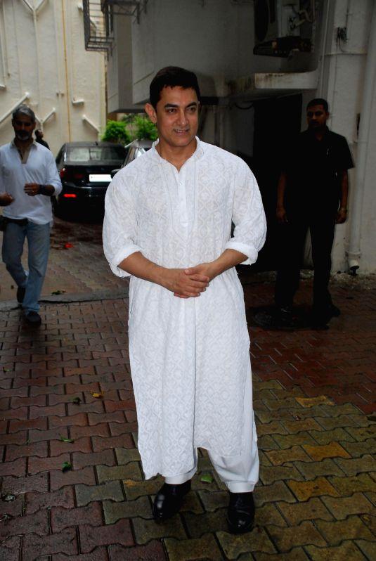 Bollywood actor Amir Khan celebrate Eid ul Fitr in Mumbai on July 29, 2014.