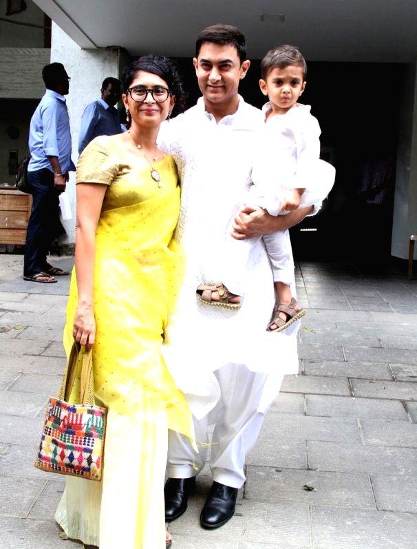Bollywood actor Amir Khan celebrate Eid ul Fitr with wife Kiran Rao and son Azad in Mumbai on July 29, 2014. - Kiran Rao