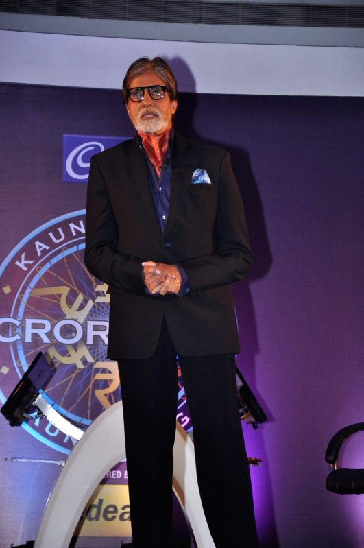 Bollywood actor Amitabh Bachchan during the launch of television game show Kaun Banega Crorepati (KBC) in Mumbai on August 29, 2013. - Amitabh Bachchan