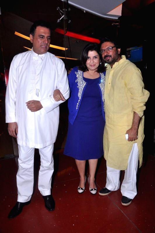 Bollywood actor Boman Irani, Choreographer-turned-filmmaker Farah Khan and producer Sanjay Leela Bhansali in the first look of `Shirin Farhad Ki Toh Nikal Padi` at Cinemax. - Boman Irani and Farah Khan
