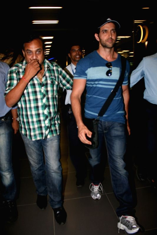 Bollywood actor Hritik Roshan snapped at Mumbai airport, India.