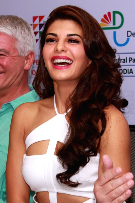 "Bollywood actor Jacqueline Fernandez with the cast of her English film ""Definition of Fear"" at a press conference ,in New Delhi on Dec 5,2015."