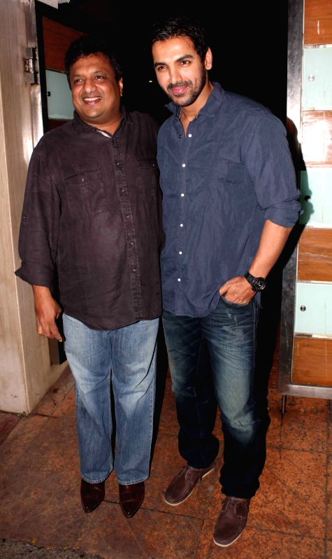 Bollywood actor John Abraham and director Sanjay Gupta during film Shootout at Wadala success party at Ekta Kapoor`s bungalow in Mumbai on Sunday, May 5, 2013 - John Abraham, Sanjay Gupta and Ekta Kapoor