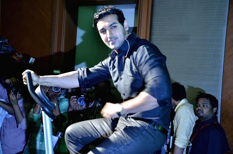 Bollywood actor John Abraham at the launch of Garnier men new product range in JW Marriott, Mumbai.