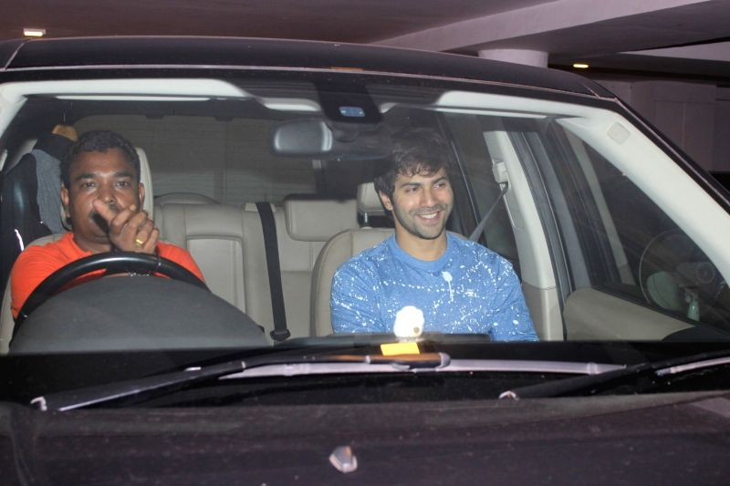 Bollywood actor Varun Dhawan spotted at filmmaker Karan Johar`s residence in Mumbai, on June 9, 2017. It was a late night dinner party at the filmmaker's house. - Varun Dhawan