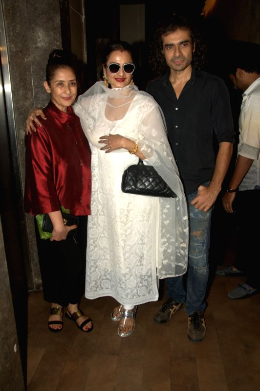 Bollywood actors Manisha Koirala, Rekha and filmmaker Imtiaz Ali during the screening of film Dear Maya on June 4, 2017. - Manisha Koirala and Rekha