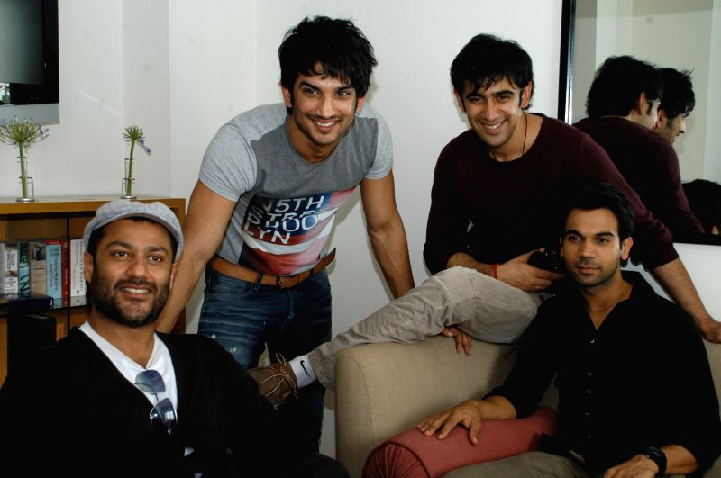 Bollywood Actors Rajkumar, Amit Sadh, Abhishel Kapoor and Sushant Singh Rajput at the promotional event of their upcoming new movie  Kai Po Che press conference, in Bangalore on Friday 8th of February 2013.