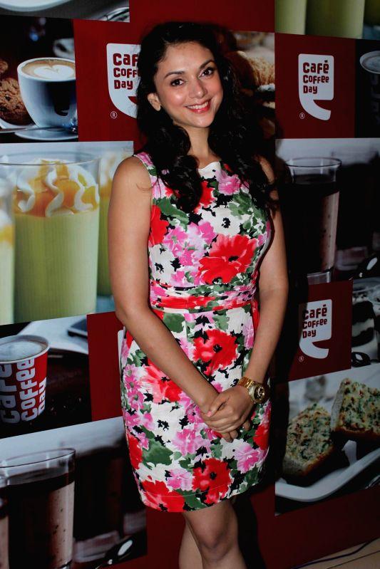 Bollywood actress Aditi Rao Hyadari at Cafe Coffee Day at Cuffe Parade.