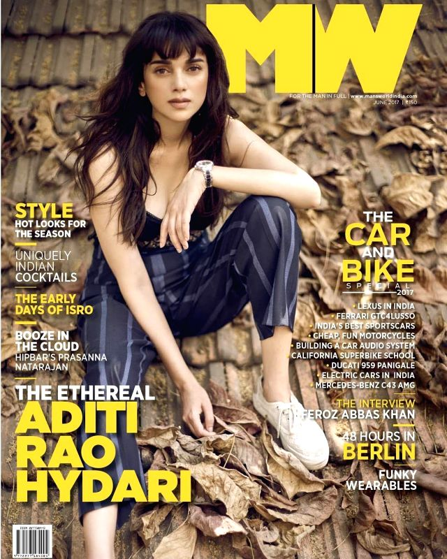 Bollywood actress Aditi Rao Hydari poses on the cover of Man`s World Magazine, in Mumbai on June 6, 2017. - Aditi Rao Hydari