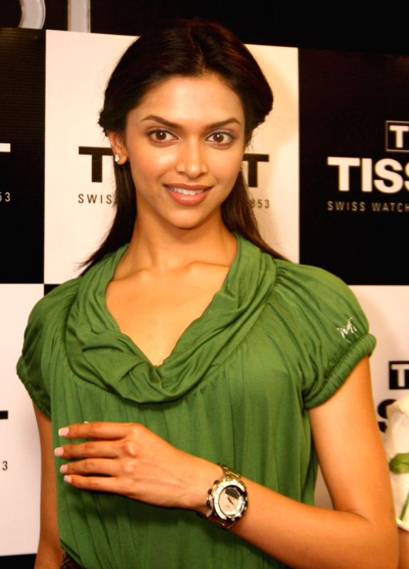 """Bollywood actress Deepika Padukone at the inauguration of """"Tissot"""" boutique at Connaught Place, in New Delhi on Thursday."""