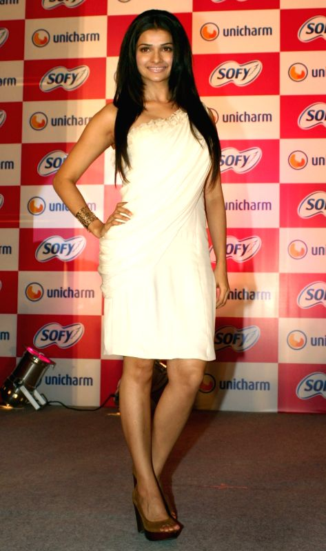 Bollywood actress Prachi Desai at the launch of ''Sofy'' sanitary napkin,in New Delhi on Thursday.